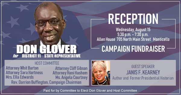 Campaign fundraiser reception for Don Glover set for August 15