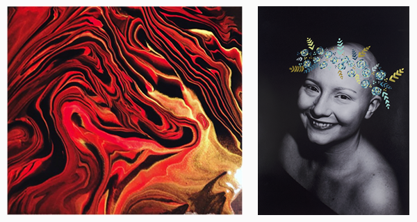 Art exhibit to feature altered self-portraits, acrylic pourings, Zentangle patterns